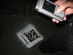 Le téléphone capture le code 2D